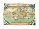 "T827 Typus Orbis Terrarum, Map of the World, from ""Theatrum Orbis Terrarum"", Pub. Antwerp, C.1570 Giclee Print by Abraham Ortelius"