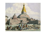 Tibetans and their Sheep at the Stupa at Bodnath, Near Kathmandu, 1852-60 Giclee Print by Dr. Henry Ambrose Oldfield