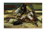Italian Port Scene, Detail of a Sleeping Soldier Giclee Print by Jan Baptist Weenix