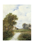 Pond with Ducks and Farmhouse Beyond Giclee Print by Joseph Thors
