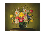 Narcissi, Anemones, Tulips, Forsythia, Rhododendron and Apple Blossom in a Glass Vase Giclee Print by James Noble