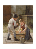 Bathing Her Dolls Giclee Print by Gustav Igler