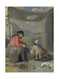 Two Figures Seated with a Dog Giclee Print by Michael Sweerts