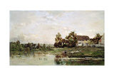 The Banks of the Seine at Portejoie, 1871 Giclee Print by Charles Francois Daubigny