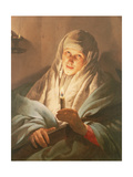 A Woman with a Candle and Cross Giclee Print by Hendrick Terbrugghen