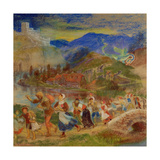 Villagers Fleeing from a Dragon Giclee Print by Arthur Hughes
