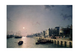 Tower of London and the Thames in Moonlight Giclee Print by Henry Pether