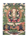 Thangka of Buddha Shakamunyi with Manjushri and Vajrapani Giclee Print