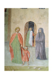 St. Peter Healing a Cripple and the Raising of Tabitha: Detail of Distant Figures: Nun and Mother… Giclee Print by Tommaso Masolino Da Panicale