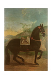 A Black Horse Sporting a Spanish Saddle Giclee Print by Johann Georg Hamilton