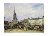 The Market at Sainte-Catherine, Honfleur Giclee Print by Johan-Barthold Jongkind