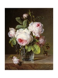 Roses in a Glass Vase on a Ledge Giclee Print by Cornelis van Spaendonck