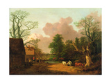A Landscape with Figures, Farm Buildings and a Milkmaid, C.1754-6 Giclee Print by Thomas Gainsborough