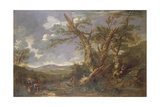 Landscape with the Baptism in the Jordan Giclée-tryk af Salvator Rosa