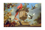 Scarlet Macaw Perched on an Urn, with Other Birds and a Monkey Eating Grapes Impression giclée par Melchior de Hondecoeter