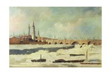 Old London Bridge During the Frost of 1795-96 Giclee Print by Daniel Turner