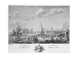 Port of L' Orient, View of the Quay with the Machine for Masting, Engraved by Yves Marie Le Gouaz… Giclee Print by Nicolas Marie Ozanne