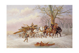 Logging in the Snow Giclee Print by Alexis De Leeuw