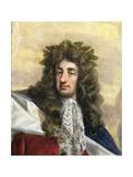Portrait of Charles II (1630-85) Enthroned in Garter Robes Giclée-Druck von Antonio Verrio