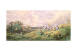 Children Running Down a Hill Giclee Print by Myles Birket Foster