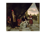 Family Portrait on a Terrace, 1667 Giclee Print by Pieter de Hooch