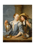 A Young Couple Returning from Shooting with Game, 1678 Giclee Print by Jacob Toorenvliet