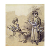 Study of Girls Carrying Faggots Giclee Print by Thomas Gainsborough