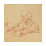 Man Playing a Flute, C.1710 Giclée-tryk af Jean Antoine Watteau