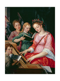 St. Cecilia Accompanied by Three Angels Giclee Print by Michiel I Coxie or Coxcie