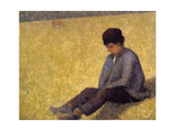 Boy Sitting on the Grass, c.1882 Giclee Print by Georges Seurat