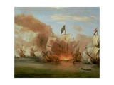"The Burning of ""The Royal James"" at the Battle of Sole Bank, 6th June 1672 Giclee Print by Willem Van De, The Younger Velde"