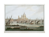 View of Blackfriars Bridge and St.Paul's Cathedral, Engraved by J. C. Stadler (Fl.1780-1812),… Giclee Print by Joseph Farington