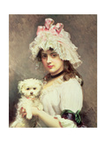Girl with a Lap Dog Giclee Print by Federico de Madrazo y Kuntz