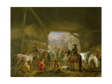 Sheltering from the Storm: a Stable with Travellers Resting on their Mounts Giclee Print by Philips Wouwermans Or Wouwerman