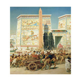 Wagon and Pylon, Detail from Israel in Egypt, 1867 Giclee Print by Edward John Poynter
