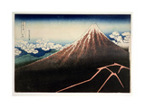 'Fuji Above the Lightning', from the Series '36 Views of Mt. Fuji' ('Fugaku Sanjurokkei'), Pub.… Giclee Print by Katsushika Hokusai