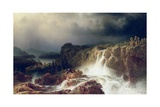 Rocky Landscape with Waterfall in Smaland, 1859 Giclee Print by Marcus Larson