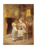 Young Girl Feeding a Toddler Giclee Print by Paul Seignac