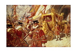 Progress in State: The Royal State Coach Giclee Print by Edgar Bundy