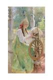 At the Spinning-Wheel Giclee Print by Konstantin Egorovich Makovsky