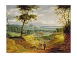 Extensive Landscape with Travellers on a Path Giclee Print by Isaak van Oosten