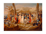 Ferdinand VII Disembarking in the Port of Santa Maria, 19th Century Giclee Print by Jose Aparicio