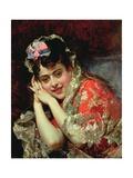 Portrait of Aline Wearing a Mantilla Giclee Print by Raimundo De Madrazo Y Garetta