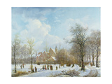 Skaters in a Winter Landscape, 1830 Giclee Print by Anthony Jacob Offermans