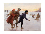 Children Skating Giclee Print by Percy Tarrant