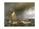 Boats in a Storm, 1696 Giclee Print by Ludolf Backhuysen