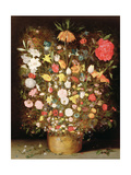 Mixed Flowers in a Wooden Tub Giclee Print by Jan Brueghel the Younger