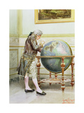 Studying the Globe Giclee Print by Giuseppe Signorini