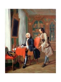 Two Gentlemen in a Library Giclee Print by Peter Jacob Horemans