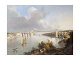 The Menai Bridge, North Wales Giclee Print by George Arnald